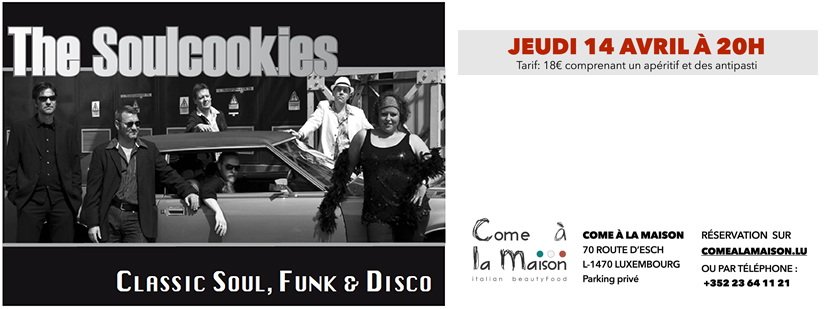14 avril 2016 : Concert SOUL, FUNK & DISCO with The Soulcookies