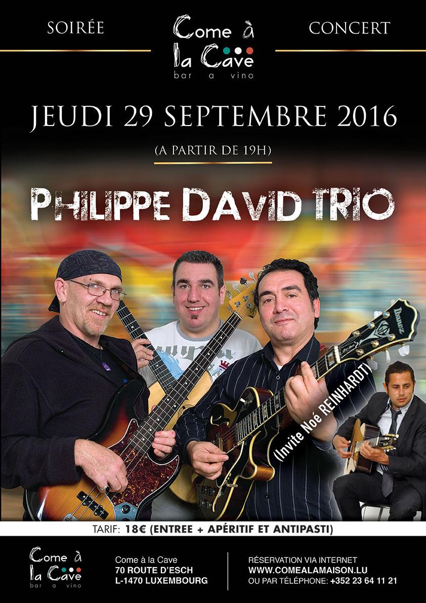 Soirée Concert: Philippe David Trio (+participation de Noé Reinhardt)