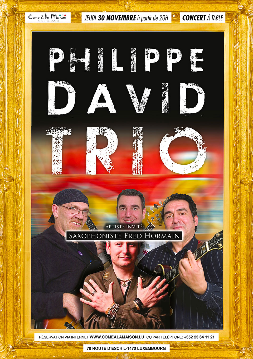 Philippe David Trio invite Fred Hormain (Saxophoniste)